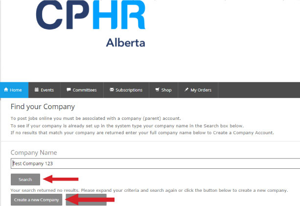 Find or Add your Company to CPHR Alberta Job Source