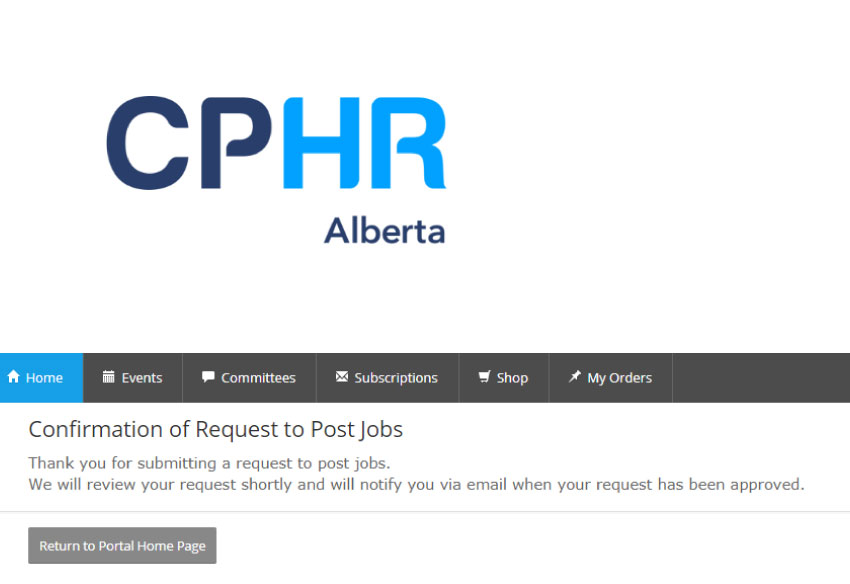 Confirmation to Post Jobs - CPHR Alberta Job Source