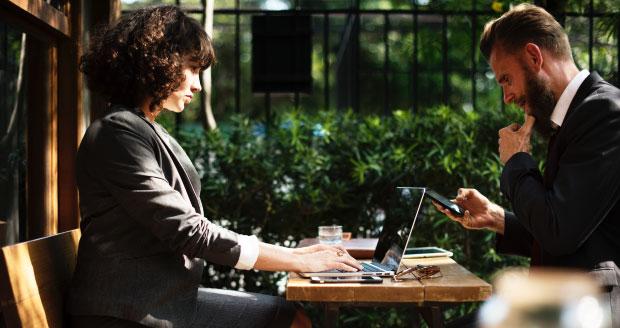 Man and woman at meeting